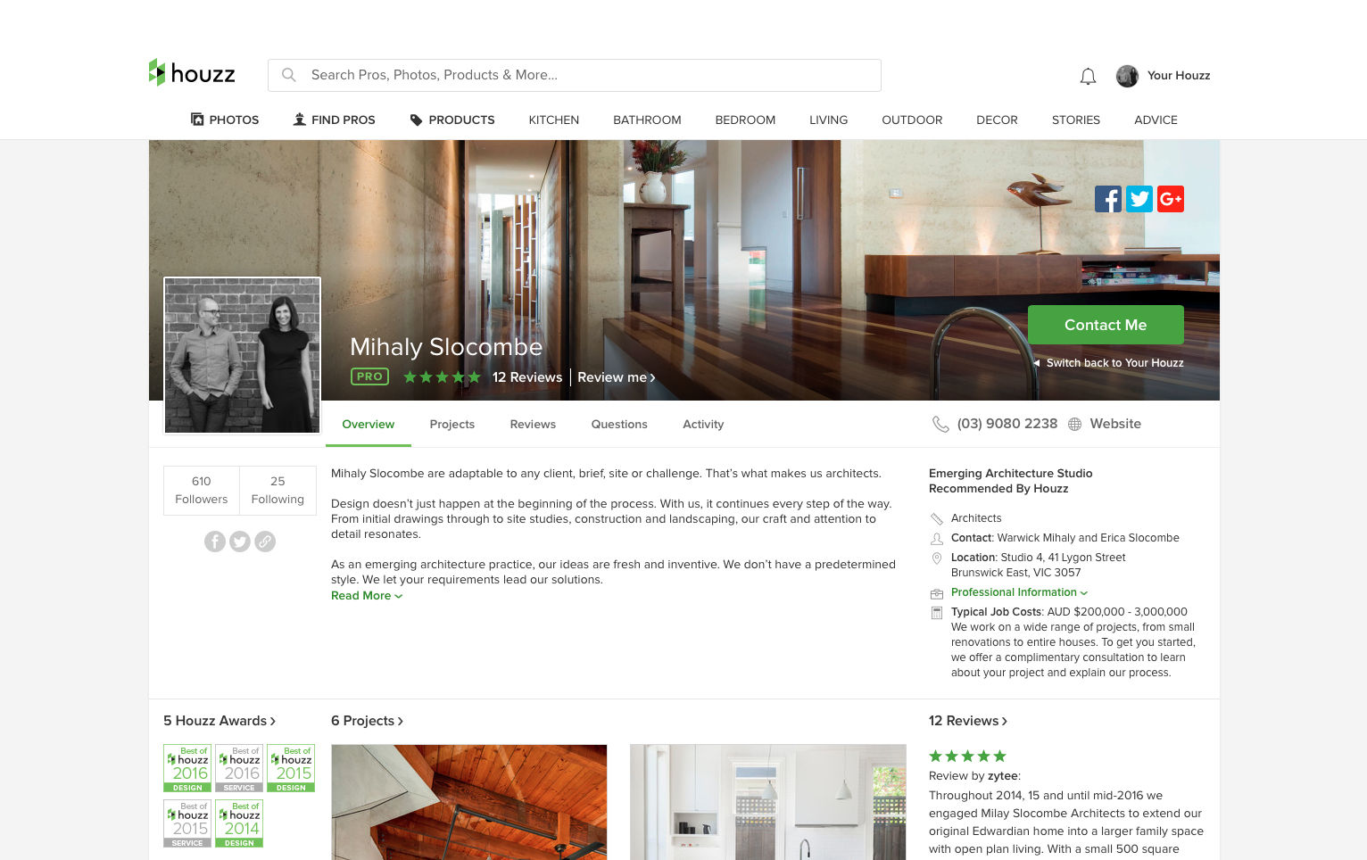 Houzz, Mihaly Slocombe, Homepage, Profile, Houses, Residential design, Architecture, Photos
