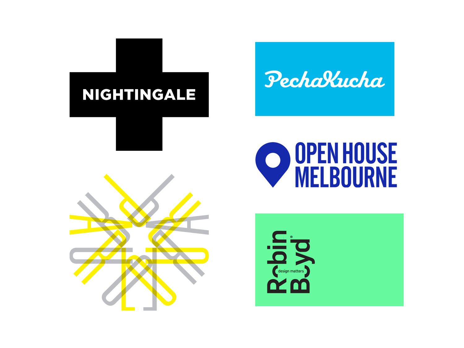 Advocacy; Logos; Graphic design; Nightingale Housing; Parlour; Pecha Kucha; Open House Melbourne; Robin Boyd Foundation